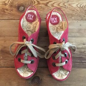 Fly London Ylfa Suede Perforated lace up Wedges